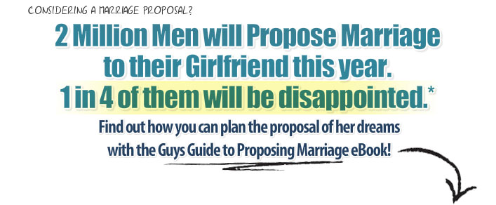 Considering a marriage proposal? 2 Million Men will Propose Marriage to their Girlfriend this year. 1 in 4 of them will be disappointed.* Find out how you can plan the proposal of her dreams with the Guys Guide to Proposing Marriage eBook!